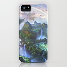 Majestic Mystical Fairytale Levitating Heaven Kingdom Gliding Wyvern UHD iPhone Case