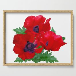Red oriental poppies Serving Tray