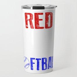 Red White And Softball 4th Of July Travel Mug