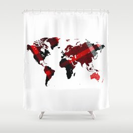 Fiber Art Tartan World Map Shower Curtain