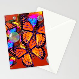 DECORATIVE MONARCH BUTTERFLIES & SOAP BUBBLES  ON TURMERIC  COLOR ART Stationery Cards