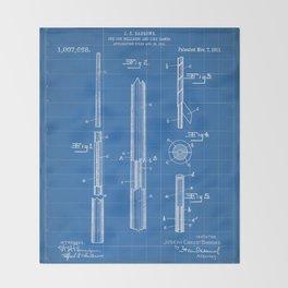 Pool Cue Patent - 9 Ball Art - Blueprint Throw Blanket