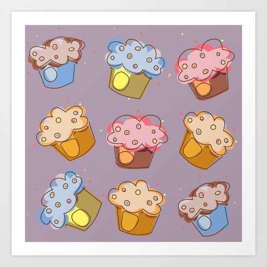 Muffins - pattern Art Print