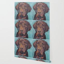 Chocolate lab LABRADOR RETRIEVER dog portrait painting by L.A.Shepard fine art Wallpaper