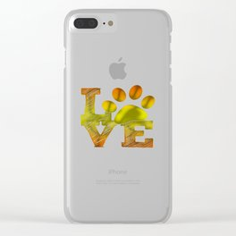 LOVE pawprint Clear iPhone Case