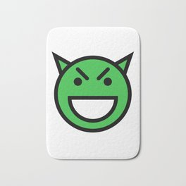Smiley Face   Laughing Evil Looking Devil Face Green Bath Mat
