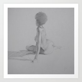 Realistic Female Figure Nude Woman with Afro Pencil Drawing on Gray Art Print