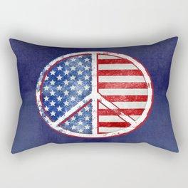 Watercolor Patriot Peace Symbol Stars and Stripes USA Flag Rectangular Pillow