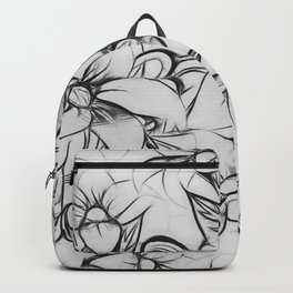 Black and white pencil sketch floral pattern Backpack