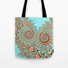 Owl Fractal Turquoise and Orange Tote Bag