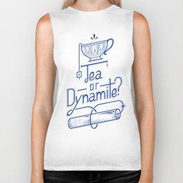Tea or Dynamite? (blue) Biker Tank