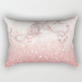 Elegant Faux Rose Gold Glitter White Marble Ombre Rectangular Pillow