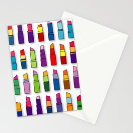 Colorful Lipsticks Girly Beauty Make-up Pattern  Stationery Cards