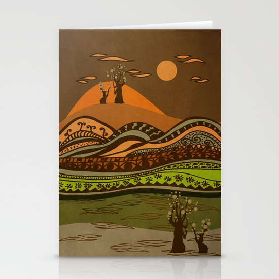 psychedelic mountains Stationery Cards