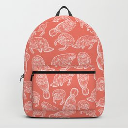 Manatee Print - Coral Backpack