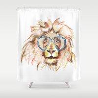 scuba Shower Curtains featuring Scuba Lion by Kristen Williams