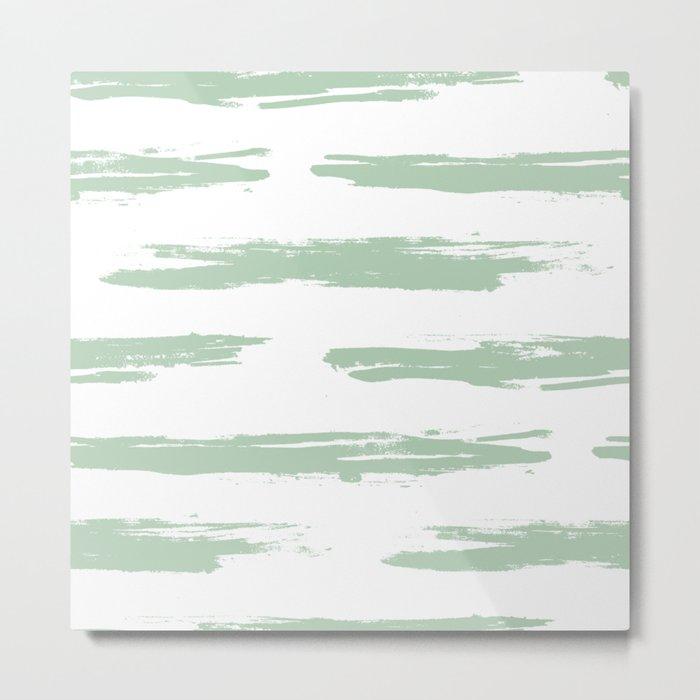Swipe Stripe Pastel Cactus Green and White Metal Print