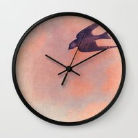 sparrow Wall Clocks featuring Sparrow by Lady Siren's Digital Artworks
