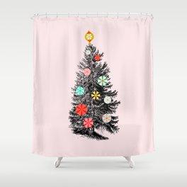 Retro Christmes tree no2 Shower Curtain