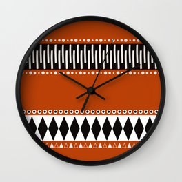 Bohemian orange, black&white tribal vibe Wall Clock