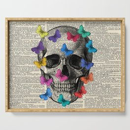 Colorful Butterflies Skull - Vintage Dictionary Art Serving Tray