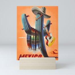 Mexico, Cactus, Retro Vintage Travel Poster Mini Art Print