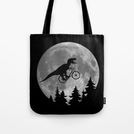 Biker t rex In Sky With Moon 80s Parody Tote Bag