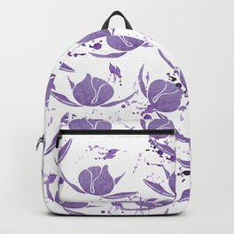 Hand painted lilac violet watercolor splatters floral Backpack