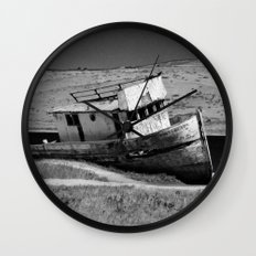 Point Reyes Shipwreck B&W Wall Clock