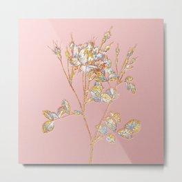 Prismatic Anemone Flowered Sweetbriar Rose Botanical Mosaic - Gold on Pink Metal Print