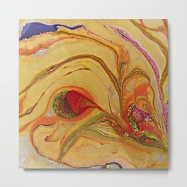 Yellow Bloom Nature floral Abstract Art Metal Print