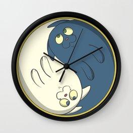 Cats ying yang with chi Wall Clock