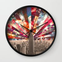 monika strigel Wall Clocks featuring Superstar New York by Bianca Green