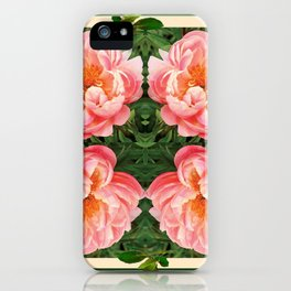 GEOMETRIC PATTERN OF PINK PEONIES GARDEN iPhone Case