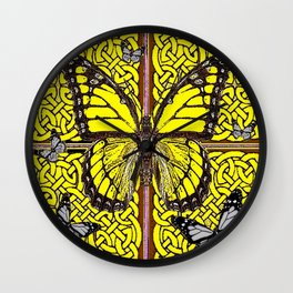 Yellow & Grey Celtic Monarch Butterfly Brown Art Wall Clock