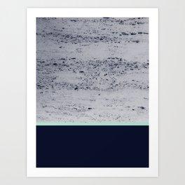 Navy Blue Mint on Navy Blue Concrete #1 #decor #art #society6 Art Print
