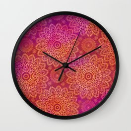 Mandala Watercolor Pattern pink orange Wall Clock