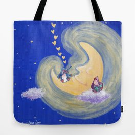 Friends of the Moon Penguins Violin Player and Book Lover Tote Bag