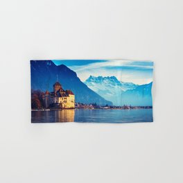 Stunnigly Spectacular Romantic Fairytale Chillon Castle Lake Geneva Swiss Europe Ultra HD Hand & Bath Towel