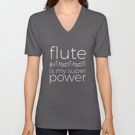 Flute is my super power (kv299) - black Unisex V-Neck