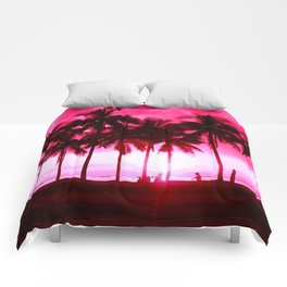 Pink Summer Palm Trees Comforters