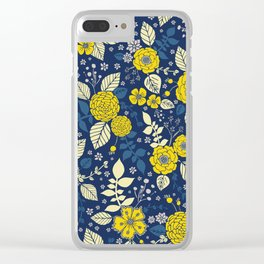 Yellow & Blue Floral Pattern Clear iPhone Case