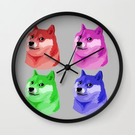 Doge in every color Wall Clock
