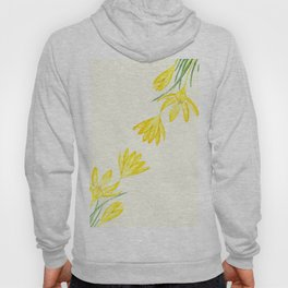 yellow botanical crocus watercolor Hoody