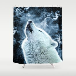 A howling wolf in the rain Shower Curtain