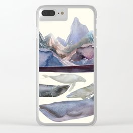 Whales Swiming under the Moutains Clear iPhone Case