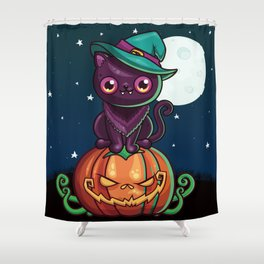 Ferociously Cute Halloween Vampire Witch Kitty Cat Shower Curtain