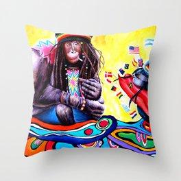Monkey Smoking Outsider Art Painting Throw Pillow