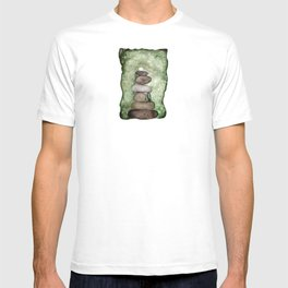 Watercolor Earth Tones Cairn On Mossy Green  T-shirt