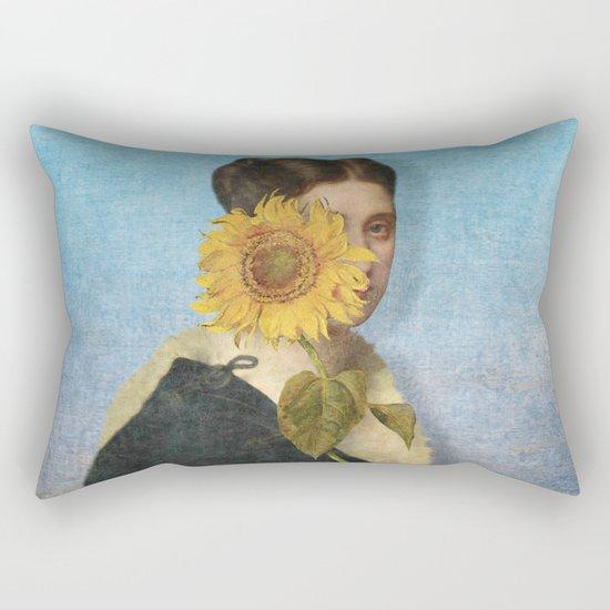 Girl with Sunflower 2 Rectangular Pillow